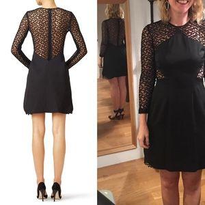 $1,695 LELA ROSE Black Cocktail Party Mini Dress 0